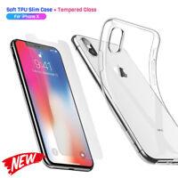 Displayschutzfolien für iPhone XS X klar Handy Hülle Silikon Case Schutz Glas