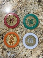 4 Chip Lot of Chinese Casino Foreign Jeton Chips 100, 1000, 10,000, 100,000