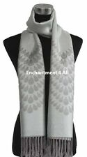 4-Ply Jacquard 100% Cashmere Pashmina TEAR DROPS Handmade Shawl Wrap, Light Gray