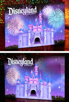 DISNEYLAND CASTLE & FIREWORKS POSTCARD Lenticular Disney Art starry night NEW