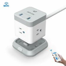 Bestek Smart WiFi 3 Outlet Power Strip Remote Control 2 Usb Extension Lead Cable