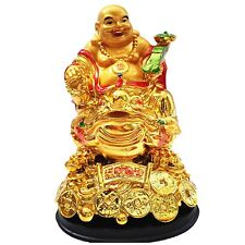 Feng Shui Lauging happy money buddha holds  Ru Yi sitting on a Money Frog Toad
