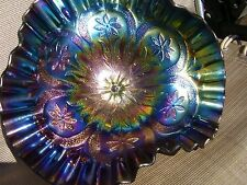 Dugan Carnival Glass Amethyst Flowers and Frames Tri Cornered Bowl