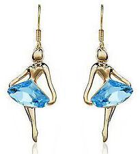 18KGP Capri Blue Crystal Ballet Dancing Girl Drop Very Modern Earrings FE14
