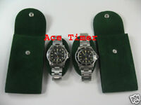 Pack of 2 Green Velvet Watch Pouch w/ Divider Fit Rolex Omega & Others