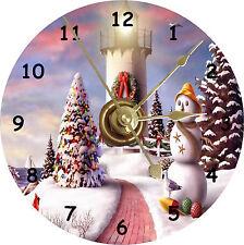 BRAND NEW Christmas Scene With Lighthouse CD Clock