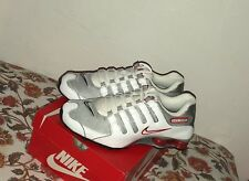 Nike Shox NZ Running Shoes White Red Platinum Silver Size 9.5 New