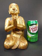 Antique Wooden Gold Gilt Buddha Sculpture Kneeling Praying Thai Statue Carved 40