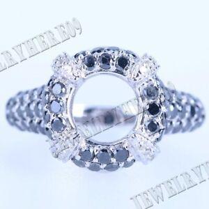 10K White Gold 1.7ct Black &White Diamond 8MM Round Semi Mount Fashion Fine Ring