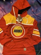 Houston Rockets Retro Mitchell & Ness NBA Fleece Laced Hoodie Men Size X-Large