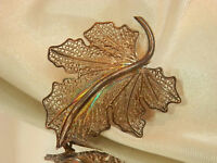 Lovely 800 Silver Lace Style Vintage 1940's Leave Brooch Stunning 361jn7