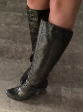 Italian Made Metallic Calf High Leather Snake Skin Style Boots Joy&peace Size 6