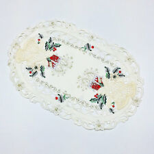 """Christmas Bells & Red Candle Embroidered Oval Lace Placemat 11""""x17"""""""