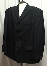 Vittorio St. Angelo Black Formal Suit Sport Coat 48 Men's Jacket Striped Italian