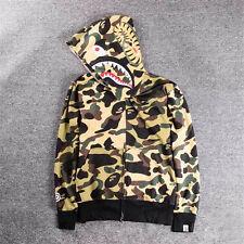 Popular BAPE A Bathing Ape Hoodie Camo Men's Shark Head Full Zip Coat Jacket