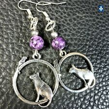 ♥ Adorable Purple Jasper Silver Plated Cat & Mouse Pendant Earrings