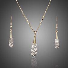 Realizzato con cristalli Swarovski Collana con Pendente Goccia Dangle Orecchini Gioielli Set