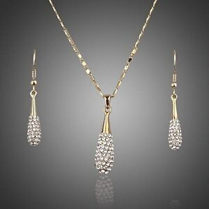 Gold Bridal Jewellery Set Pendant Necklace Earrings Made With Swarovski Crystals