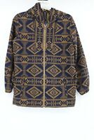 Pendleton womens S virgin wool full zip belted hoodie jacket aztec native tribal