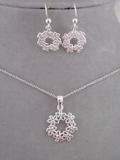 Necklace Set 925 Sterling Silver Flower Circle Wreath  Dainty Jewelry NEW