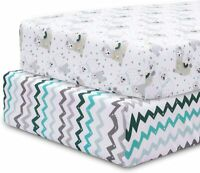 Crib Sheets, Baby Crib Sheets, Crib Sheets for Boys and Girls, 2 Pack Fitted