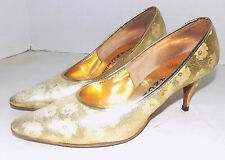 Vintage 50s 60s Gold Brocade Shoes Fiancees 8 to 9 Stiletto Heels Pointy Toes