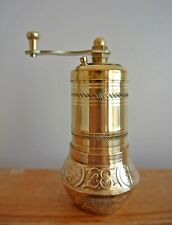 Brass Turkish Pepper Grinder, Floral Motifs, ISO Certified Manual Small Mill