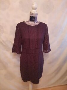 Oasis Lace Dress size L   Tunic  3/4 Sleeve Round Neck Graphite