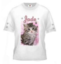 Tee shirt enfant chat chaton  personnalisé avec prénom