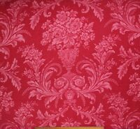 """Antique c1870 French Red Romantic Luscious Floral Cotton Fabric~L-42"""" X W-27"""""""