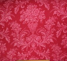 "Antique c1870 French Red Romantic Luscious Floral Cotton Fabric~L-42"" X W-27"""