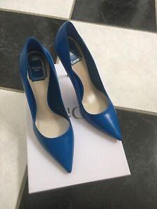 NIB 100% AUTH Christian Dior Cherie Blue Leather Pointy Pumps 10cm $650