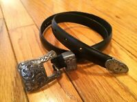 Vintage 90's Women's Medium RITZ Black Leather Floral Buckle Blossom Style Belt