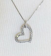"14K White Gold & Diamond Heart Necklace 17"" $500 Appraisal"