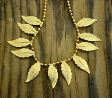 "Gold-Colored Metal 11-Leaf Dangle Necklace on 16"" Ball Chain"