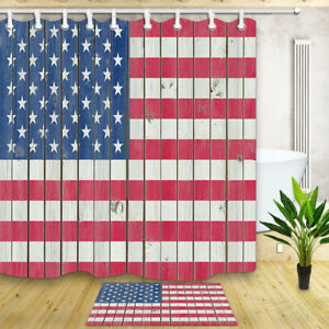 Waterproof Fabric Shower Curtain American Flag printed on Wooden Wall Bath Mat