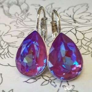 Crystal earrings leverback Earrings Genuine Swarovski Crystals Burgundy DeLite