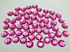 200 Hot Pink Flatback Acrylic Round Sewing Rhinestone Button 10mm Sew on beads