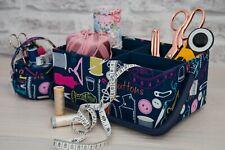 CRAFT ORGANISER STORAGE BOX WITH HANDLE 'Sew it' fabric design