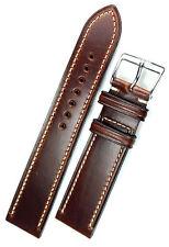 20mm VINTAGE conte handmade GERMANY Calf Pelle Uhrband attraverso cuciti nastro