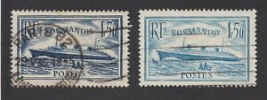 France 1935 Used Normandie 1.50fr 2 shades Republique Francaise SG526 & 526a