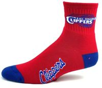 Los Angeles Clippers NBA Red Deuce Quarter Socks with Blue Name on Foot