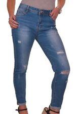 (1548-1) Ladies Stretch Denim Ankle Grazer Rip Jeans Blue 10-20