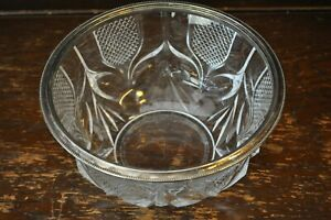 Lovely Large Deep Cut Glass Fruit Bowl with Metal Rim - 12.5cm Tall 24cm Across