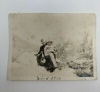 "Vintage B&W Pre-1940's Picture - Photo of Brother & Sister Sitting 3""x4"""