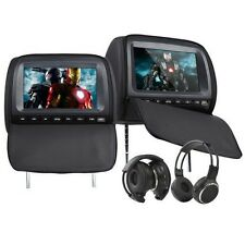 2* 9'' Digital TFT LCD HD Screen Screen Pillow Headrest Car DVD Player Headsets