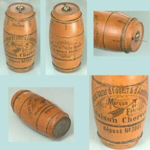 Antique Figural Barrel Mitrailleuse Needle Case * France * Circa 1900s