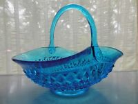 "Tiara Indiana Glass Horizon Blue Diamond Point 10"" Handled Basket"