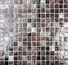 Mosaico piastrella vetro marrone nero oro muro cucina bagno: 54-0108 I 1 foglio