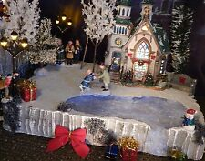 "Christmas FROZEN POND FALLS Village Display platform base 14x12"" Dept 56 Lemax"
